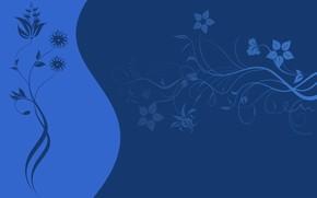 Картинка цветы, узор, вектор, текстура, синий фон