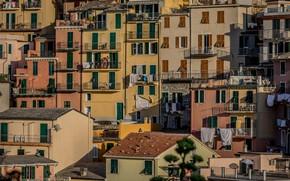 Картинка крыша, дома, Италия, балкон, Манарола, Чинкве-Терре, Лигурийское побережье