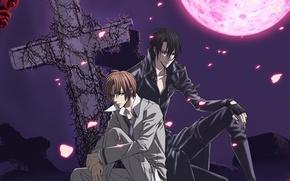 Картинка ночь, розы, крест, парни, двое, art, кровавая луна, hotaru odagiri, uragiri wa boku no namae …