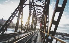 Картинка зима, мост, город, железная дорога, россия, ярославль