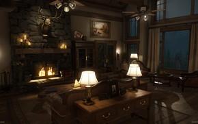 Картинка огонь, мебель, помещение, Mountain Lodge, nightime
