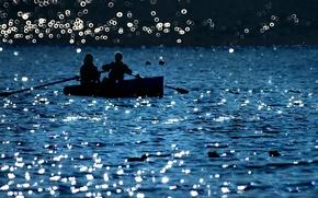 Обои люди, лодка, озеро