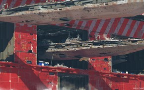 Обои корабль, порт, ангар, док, Air carrier facility