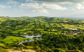Обои облака, небо, Teggs Nose Country Park, Тегс-Нос-Кантри-Парк, зелень, Великобритания, деревья, панорама, холмы, луга, поля