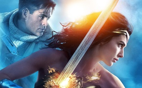 Обои cinema, sword, Wonder Woman, armor, movie, ken, blade, brunette, film, Chris Pine, warrior, DC Comics, ...