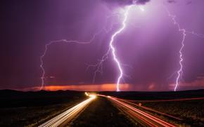 Картинка дорога, ночь, молнии