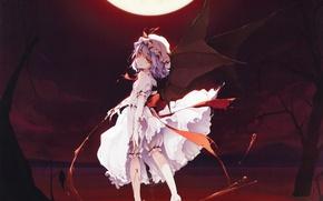 Картинка ночь, полнолуние, красные глаза, вампирша, черные крылья, Touhou Project, Remilia Scarlet, черная магия, лужа крови