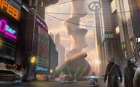 Картинка город, транспорт, улица, сооружение, Cyberpunk downtown