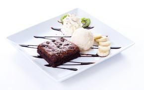 Картинка шоколад, тарелка, мороженое, пирожное, банан, десерт, бисквит