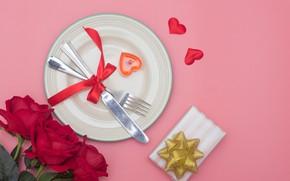 Картинка цветок, любовь, подарок, сердце, роза, свеча, нож, сердечки, love, вилка, romantic, Valentine's Day, сервировка