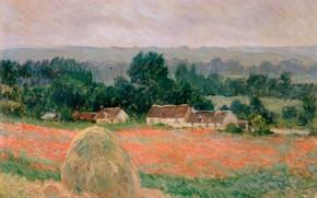 Обои Клод Моне, картина, Oscar-Claude Monet, Стог Сена в Живерни, поле, дома, пейзаж