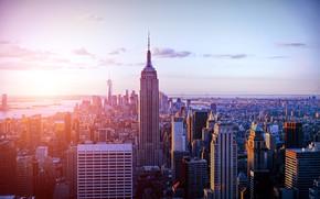 Картинка sunset, New York, skyscraper