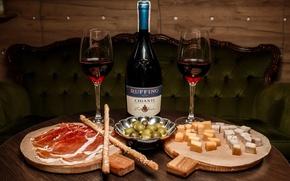 Картинка вино, сыр, бокалы, хамон
