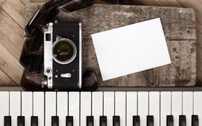 Картинка ретро, фотоаппарат, фортепиано, style, retro, camera, old, piano, предмет, film, Artwork, кинопленка