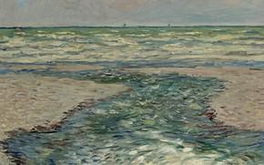 Картинка пейзаж, картина, горизонт, Claude Monet, Клод Моне, Морское Побережье Пурвиля. Прилив