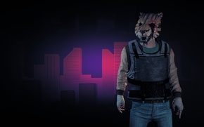 Картинка game, tiger, mask, bulletproof vest, Payday 2, Payday, tora