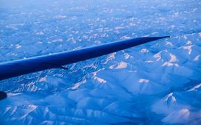 Картинка небо, горы, Самолет, крыло, север