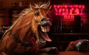 Картинка artwork, лошадь в баре, Screaming Horse, Sviatoslav Gerasimchuk