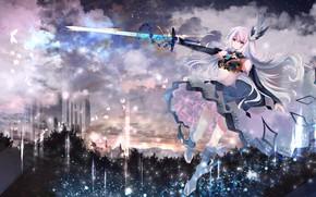 Картинка девушка, облака, меч, аниме, tagme (artist)