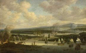 Картинка масло, картина, холст, Виллем Шеллинкс, Сожжение Английского Флота в Чатеме