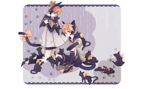 Картинка кошки, аниме, арт, бантики, Vocaloid, Вокалоид, персонажи, котики