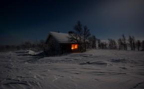 Обои зима, ночь, дом