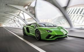 Картинка green, скорость, Lamborghini, 2017, Aventador S