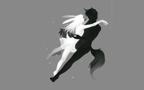 Картинка романтика, пара, серый фон