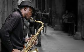 Картинка улица, музыкант, саксофон