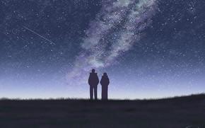Картинка небо, девушка, ночь, парень, млечный путь, by Tosaka