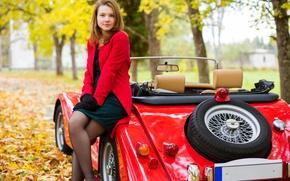 Картинка машина, осень, девушка, деревья, природа, платье, перчатки, шатенка, кабриолет, пиджак, автомобиль