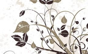 Картинка цветы, абстракция, текстура, background, бежевый фон, floral