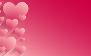 Обои абстракция, розовый фон, сердечки