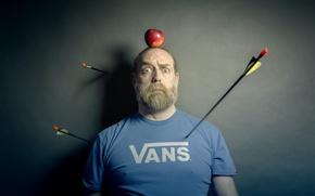 Картинка человек, мишень, яблоко, стрелы