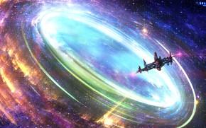 Картинка космос, звёзды, круговорот, космический корабль, ENIGMA