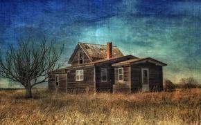 Картинка поле, дом, фон