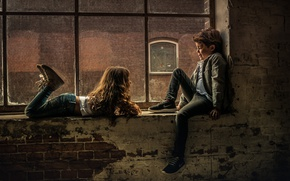 Картинка дети, мальчик, окно, девочка
