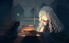 Обои читает, девушка, интерьер, кот