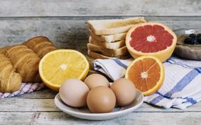 Картинка апельсин, яйца, хлеб, цитрусы, круассан