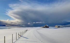 Обои зима, снег, побережье, забор, Норвегия, Norway, сарайчики, Vesterålen, Åknes