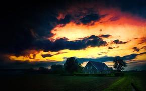 Картинка тучи, дом, Германия, зарево