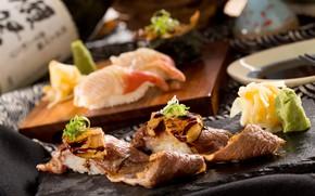 Картинка водоросли, мясо, рис, соус