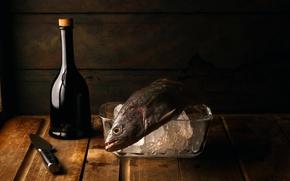 Картинка стол, бутылка, рыба, нож, натюрморт