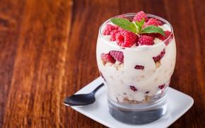 Картинка ягоды, малина, десерт, йогурт