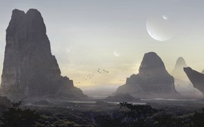 Картинка деревья, скалы, world, планета