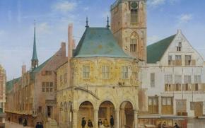 Картинка Старая Ратуша в Амстердаме, Питер Янс Санредам, масло, городской пейзаж, картина, дерево