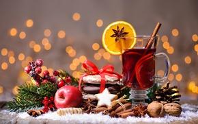 Картинка tea, punch, корица, Рождество, cookies, orange, орехи, яблоко, печенье, глинтвейн, wine, merry christmas, Новый Год, …