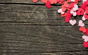 Картинка сердечки, love, wood, romantic, hearts, sweet, valentine's day