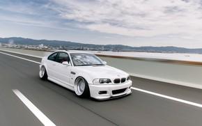 Картинка Небо, Авто, Дорога, Белый, BMW, Машина, БМВ, День, Автомобиль, E46, BMW M3, Немец, BMW E46, …