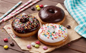 Обои пончики, chocalate, глазурь, donuts